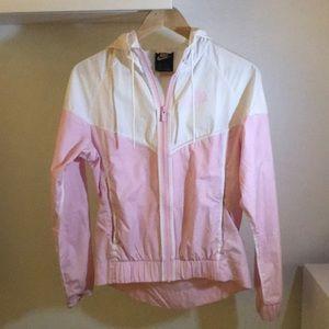 Nike pink and white windbreaker